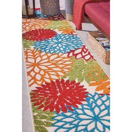 Walmart Tropical Oasis Indoor Outdoor Floral Green Area Rug Size