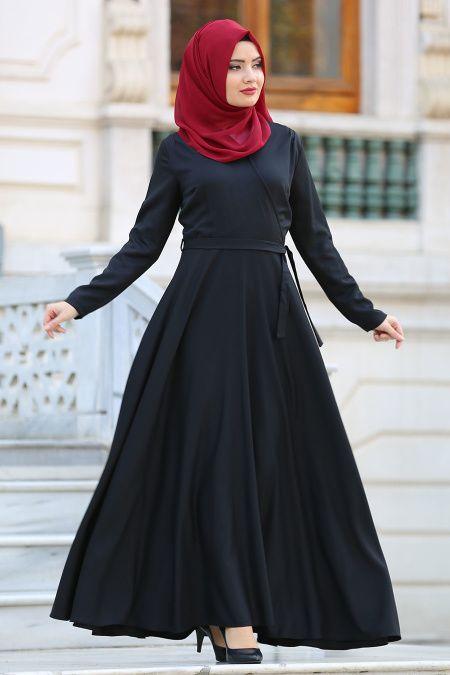 Neva Style Kruvaze Yaka Kemerli Siyah Tesettur Elbise 41980s Tesetturisland Com Elbise The Dress Giyim