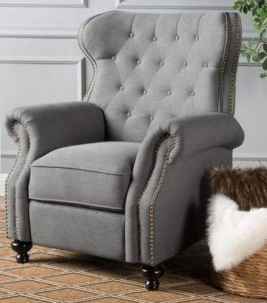 Recliners For Small Spaces Bedroom Chairs For Adults Charcoal Tufted Fabric Round Arms Of Small Space Bedroom Small Bedroom Furniture Small Recliner Chairs