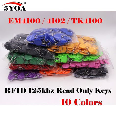 5yoa 1000pcs Rfid Tag Proximity Id Token Tag Key Keyfobs Ring 125khz Rfid Card Id Token Tags For Access Control Time Attendance Access Control Rfid Tag Rfid
