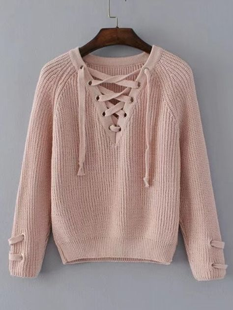 Shop Lace Up V Neckline Raglan Sleeve Sweater online. SheIn offers Lace Up V  Neckline Raglan Sleeve Sweater   more to fit your fashionable needs. bd64bf5a4