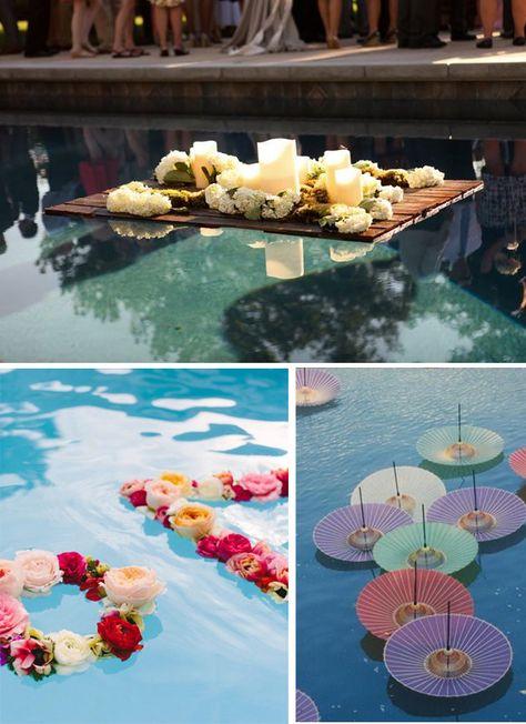 Decoración zonas de agua en bodas 4 piscina flores sombrillas