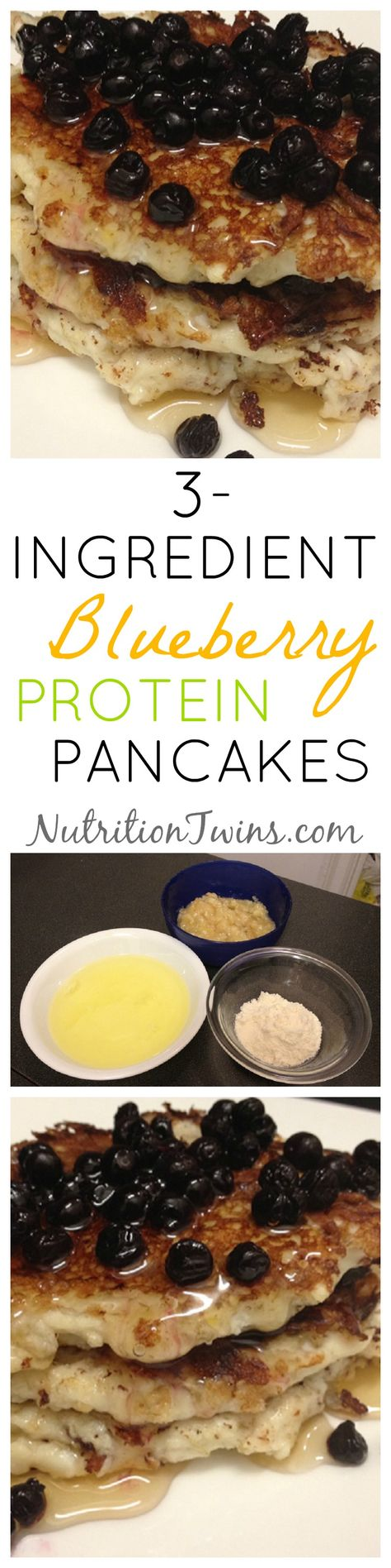 3 Ingredient Blueberry Protein Pancakes. These healthy pancakes are an easy breakfast and make the perfect healthy breakfast for a weight loss diet plan or a flat belly diet plan. #breakfast #recipes #pancakes #healthy For MORE RECIPES, fitness  nutrition tips please SIGN UP for our FREE NEWSLETTER www.NutritionTwins.com