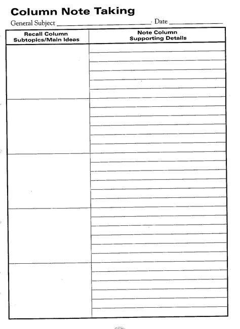 Free Printable Cornell Notes Graphic Organizer Comic Note Ta