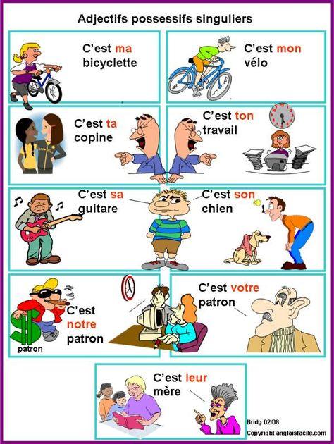 Las Mejores 9 Ideas De Adjetivos Posesivos En Frances Adjetivo Posesivo Adjetivos Clases De Francés