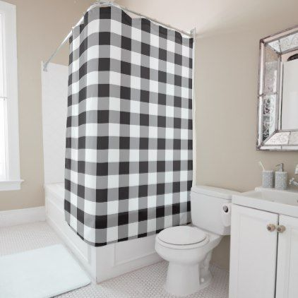 Black And White Buffalo Plaid Pattern Shower Curtain Zazzle Com Plaid Shower Curtain Patterned Shower Curtain Custom Shower Curtains