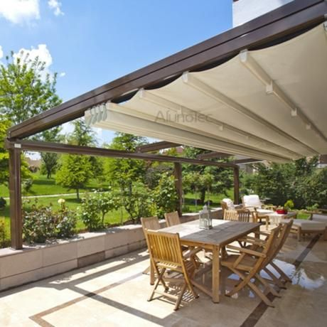 Waterproof Pvc Retractable Awning Pergola Systems Modern Gazebo Aluminum Pergola Pergola With Roof