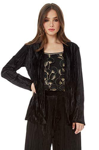 Roman Originals Women Crushed Velour Jacket Ladies Smart Evening Long Sleeve Velvet Feel Soft Glamorous Cove Outerwear Women Clothes For Women Velour Jackets