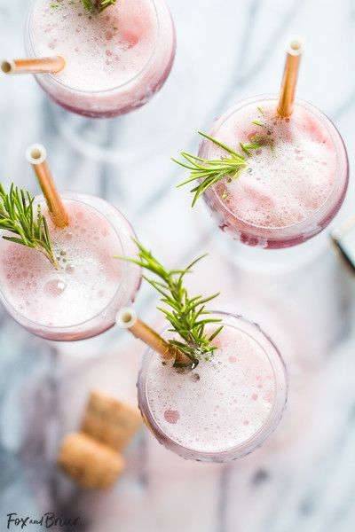 Rosé Raspberry Sorbet Mimosas - Pretty Cocktails To Make This Mother's Day - Photos