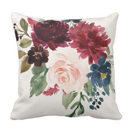 Burgundy Navy Blue Floral Watercolor Bouquet Throw Pillow Burgundy Style Stylish Cyo Diy Customize Floral Bedroom Throw Pillows Watercolor Pillows Floral