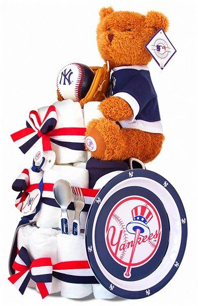 ¿Crees que a tu bebito le guste el beisbol? Mira esta torta de pañales de los Yankees de Nueva York, perfecta para un babyshower