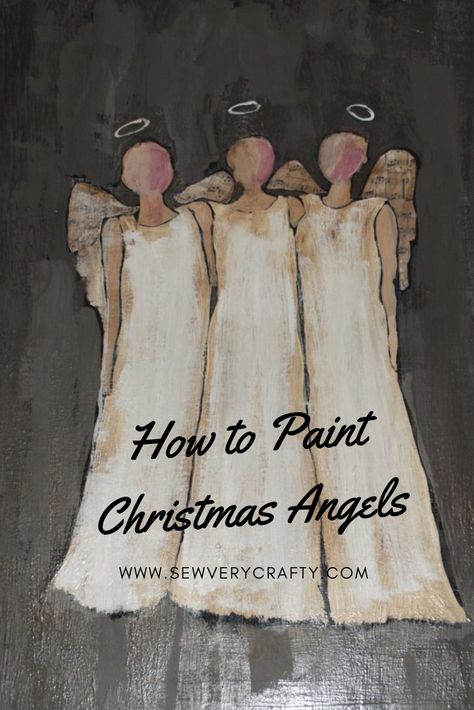 These Christmas Angels are not only beautiful but they are easy to paint for the non-artist like me. This is a complete patterns and tutorial on how to create these lovely Christmas angels. You can get everything you need at your local craft and hardwar Christmas Paintings On Canvas, Christmas Canvas, Christmas Angels, Christmas Art, Christmas Projects, Christmas Decorations, Christmas Poinsettia, Painted Christmas Ornaments, Crochet Christmas