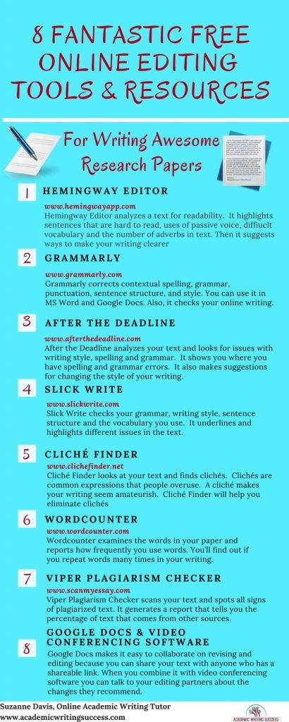 The Top 8 Free Online Editing Tools For Writing Excellent Research Papers Academic Writing Success Thesis Writing Academic Writing Teaching Writing