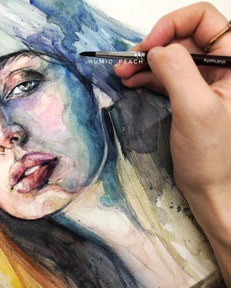 Aquarelle Portraits Aquarelle Peinture Visage