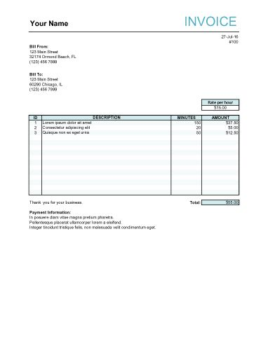 Hourly Service Freelance Excel Invoice Template with Minutes - invoce sample
