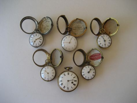 Antique English & German Verge Fusee Pocket Watch Grouping