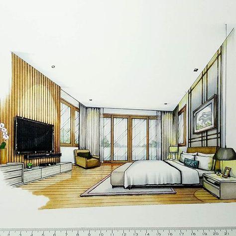 Master Bedroom Sketch Handdrawing Handsketch Perspective