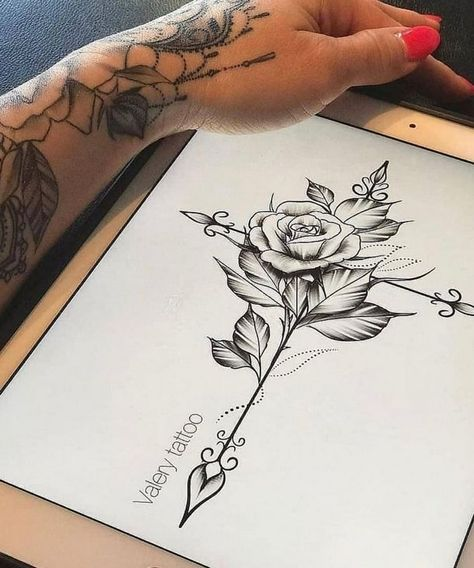 Rose tattoo thigh for women ideas 88
