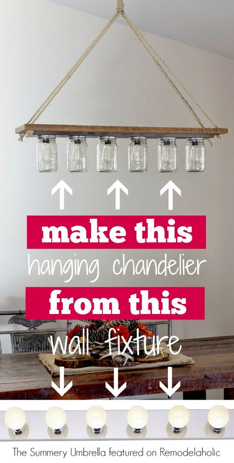 DIY chandelier from Hollywood-style vanity light   The Summery Umbrella on @Remodelaholic #pendantlight #upcycle