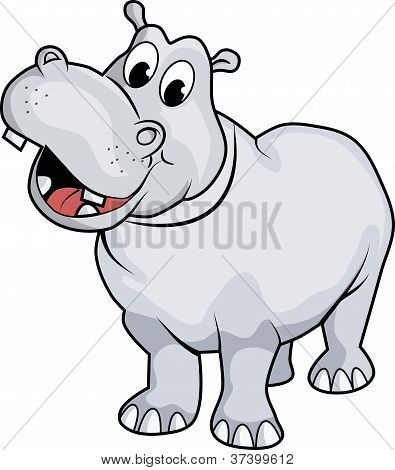 Illustration Of A Happy Hippo Cartoon Style No Gradient Easy To Edit Poster Id 37399612 Hippo Drawing Cartoon Hippo Cartoon Styles