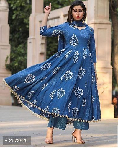 Summer collection Indian Collar Neck Blue Hanloom Cotton Silk Kurti Kurta Solid Pattern Kameez Tunic Top classic look Women Festive Wear