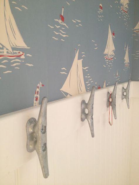 Ralph Lauren nautical theme wallpaper for kid's bathroom.
