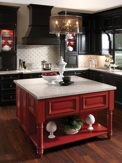 Black and White Kitchen With a Pop of Red