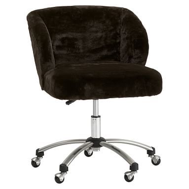Excellent Luxe Faux Fur Wingback Desk Chair Desks Chairs Desk Gmtry Best Dining Table And Chair Ideas Images Gmtryco