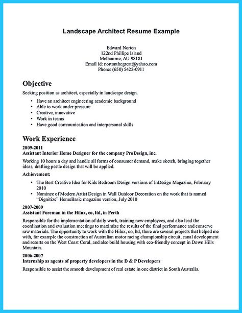 Awesome Amazing Actor Resume Samples To Achieve Your Dream   Landscape  Architect Sample Resume  Landscape Resume