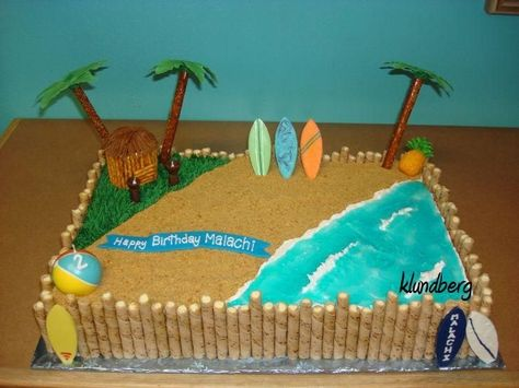 Hawaiian beach birthday for a good friends son.  I was so happy with how it turned out!  Palm trees are pretzle rods and fondant and chocolate to hold it together.  Surf boards are from a chocolate mold.  Tiki hut is cupcakes and pretzles.  Inspired by Deana (overall cake design) and Tweedie (hut and torches).