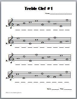 Treble Clef Notes Worksheet - Bing images | Recorder | Music