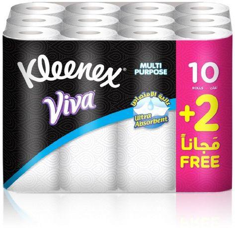 سوق كلينكس فيفا مناديل تجفيف متعددة الاستخدام ابيض 10 زائد 2 رول مجانا 6281002507887 السعودية Kleenex Viva Multipur Kleenex Absorbent 10 Things