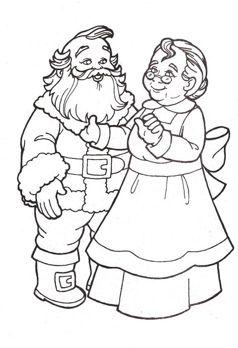 Mr And Mrs Santa Claus Coloring Pages Christmas Images