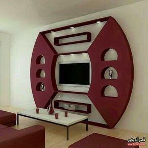 جبس امبورد شاشات حديث Ampour Gypsum Modern Screens 2018 قصر الديكور Tv Wall Design Tv Wall Decor Wall Design