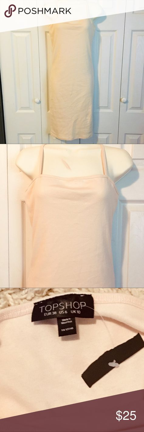 TOPSHOP Cami Bodycon Dress Sz 6 NEW TOPSHOP Cami Bodycon Dress Sz 6 NEW  This dress will be a staple piece in your wardrobe!  Great with jackets, cardigans and kimonos.  Awesome neutral color is a subtle blush peach color.    New with partial tag still attached! Topshop Dresses