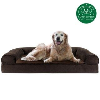 Furhaven Pet Bed Faux Fleece Chenille Soft Woven Cooling Gel