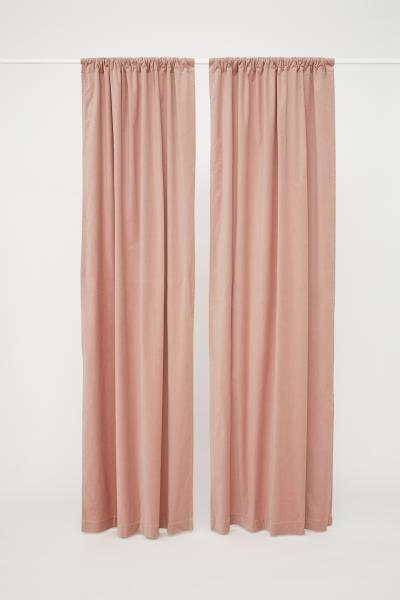 2 Pack Velvet Curtain Panels Light Pink H M Us 3 Pink Velvet Curtains Velvet Curtains Pink Curtains