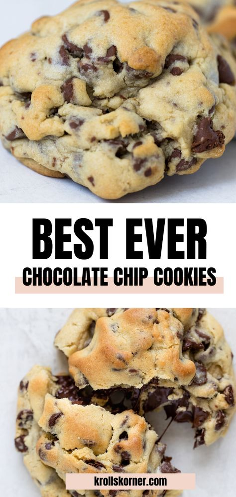 These BEST EVER Giant Chocolate Chip Cookies are thick, fluffy, crispy golden brown on the outside and soft, gooey and chewy on the side. It's the perfect cookie. Really! #cookies #chocolatechipcookies #giantcookies #softcookie #chewycookies #levaincookies #cravecookie #bestevercookies #chocolatechips