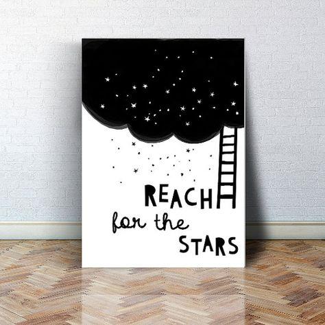 Reach for the stars, black and white, scandinavian nursery decor, baby wall art print, universe kids print, baby room decor space