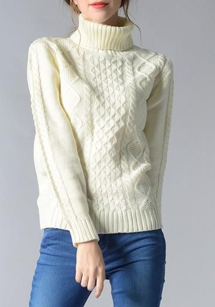 White High Neck Long Sleeve Casual Pullover Sweater (With
