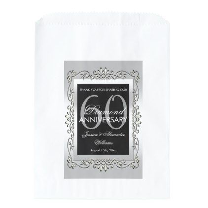 Stylish Decorative Silver 60th Wedding Anniversary Favor Bag Zazzle Com 60 Wedding Anniversary Anniversary Favors Wedding Anniversary Favors
