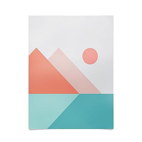 The design of The Old Art Studio Geometric Landscape Poster from Deny Designs adds a touch of drama and elegance to any room in your home. Colorful and stylish, this piece features an abstract landscape theme. Small Canvas Paintings, Easy Canvas Art, Small Canvas Art, Easy Canvas Painting, Mini Canvas Art, Cute Paintings, Simple Acrylic Paintings, Easy Art, Painting Art