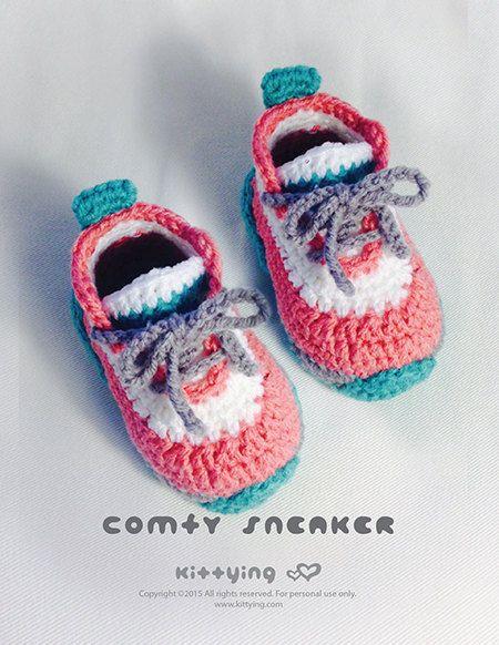 c0b8dde7a964e CROCHET PATTERN Toddler Booties Comfy Toddler Sneakers Crochet ...