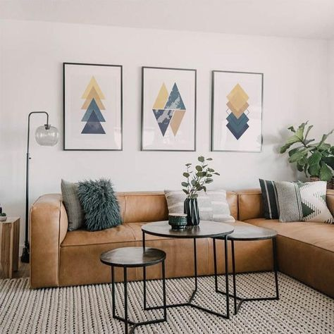 Blue & Yellow Geometric Print, Geometric Wall Art, Set of 3 Wall Art, Minimalist Poster, Printable Home Decor