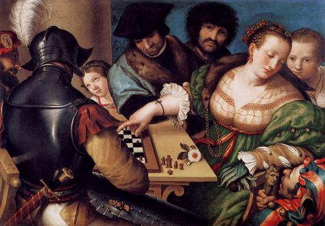 """Giulio Campi (1508-1573) was an Italian painter and architect. In 1550, he painted """"La Partita a Scacchi"""" (A Game of Chess) which hangs in the Musei Civici Arte Moderne in Turin (Torino), http://themaskedlady.blogspot.com.es/"""