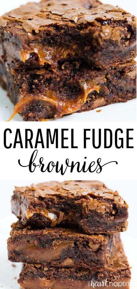 Chocolate Fudge Caramel Brownies - Easy to make brownies that are loaded with chocolate chips and layers of gooey caramel. Rich, chewy and simply amazing! #chocolate #chocolaterecipes #caramel #brownies #browniesrecipe #baking #bakingrecipes #easy #easydessert #desserts #dessertrecipes #dessertideas #recipes #iheartnaptime