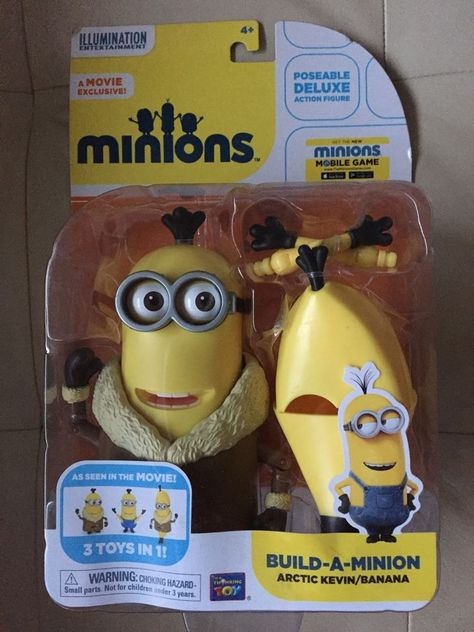 MINIONS Build-a-minion Poseable Deluxe Action Figure Artic Kevin//Banana 3IN1