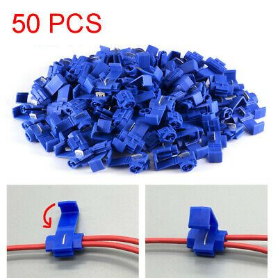 50PCS Blue Fast Quick Splice Lock Electrical Wire Cable Connector Terminal Set