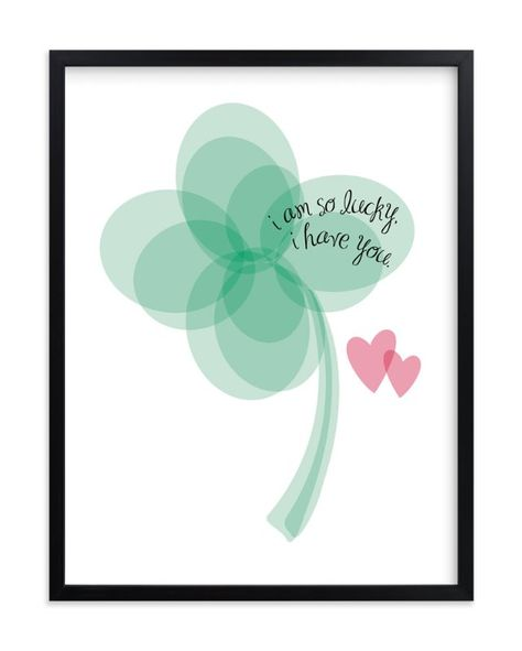 """Lucky Clover"" - Art Print by Christy in beautiful frame options and a variety of sizes."