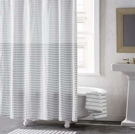 Bathroom White Towels Shower Curtains